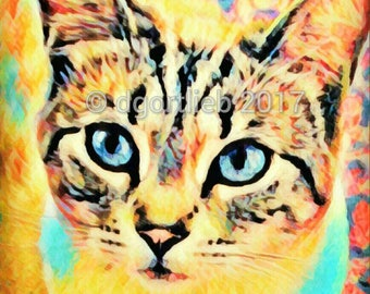 Framed 8 x 10 cat art print, cat wall art, cat art, cat print, cat art print, pet art, art for kids room,  cat lover gift,
