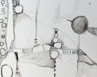 Mystical Pathways Abstract mixed media  10 x 10 black and white Zen Painting  by Jodi Ohl