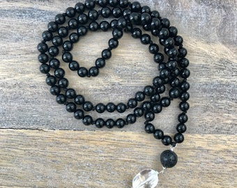 Unisex Black Onyx Mala Necklace / Mens 108 Mala Beads / Knotted Buddhist Necklace / Meditation Necklace / Protection Beaded Necklace