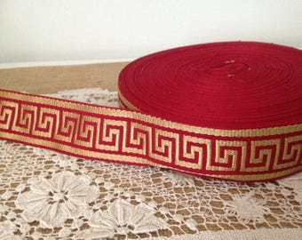 "1-3/4"" Red/Gold Greek Key Trim, Greek Key Jacquard Trim, Greek Key,45 mm Woven Jacquard Greek Key Trim , Greek Key, Home Decor Trim"