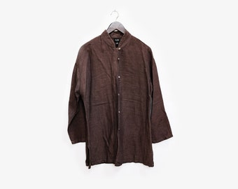 Eileen Fisher Mandarin Collar LS Linen Shirt