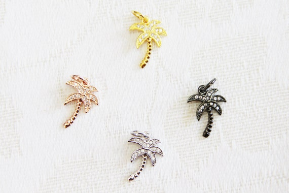 CZ Micro Pave 12x17mm Palm Tree  Charm with Jump Ring