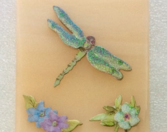 DRAGONFLY NIGHTLIGHT -Decoupage Salmon Color Stained Glass Night Light D81
