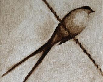 Brown Bird on a Wire / Bird Art / Print of original painting / Swallow