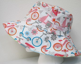 """Bucket Hat 24"""" XLarge Sun hat, Bicycles, Unicycle, pink scooter, kids scooter, tricycle, cycling hat, plaid hat"""