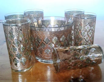 Vintage Mid Century Modern Culver Valencia Highball Bar Glasses And Ice Bucket With 22K. Gold Trim