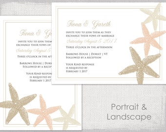 Wedding invitation template printable wedding invitations beach wedding invitation template starfish printable sand ecru and champagne invitations template digital you stopboris Choice Image