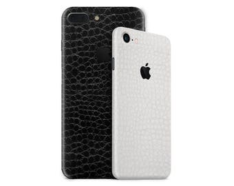 Alligator Leather Phone Skin Wrap Decal for the iPhone 7, 7 Plus, 6, 6s Plus, 5/5s/5c/SE & 4 in Black or White
