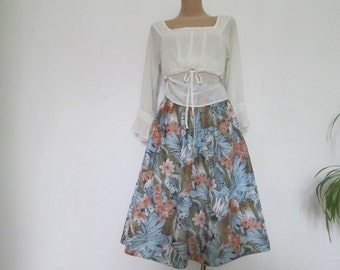 Full Skirt Skirt / Skirt Vintage / Size EUR40 / UK12 / Poly / Elastic Waist / Full Skirt Floral