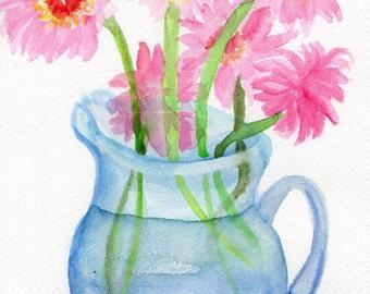 Daisies watercolor painting  -Gerbera Daisies painting, Gerber Daisies Original Watercolor Gerber Daisy ART  watercolor paintings original