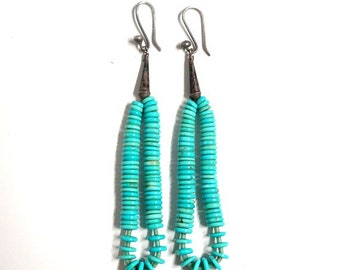 Native American Turquoise Disk Extra Long Earrings - FREE SHIPPING