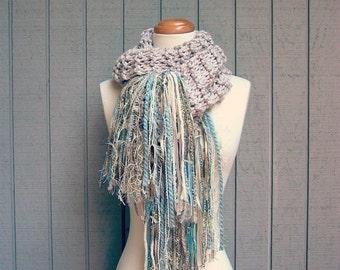 serenity. handknit chunky scarf art yarn fringe scarf warm winter wool knit scarf shabby beach cottage chic shawl wrap ecru sand aqua blue