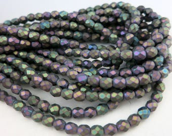 4mm Matte Iris Purple Beads, Faceted Beads, Firepolished Czech Glass, Strand of 50