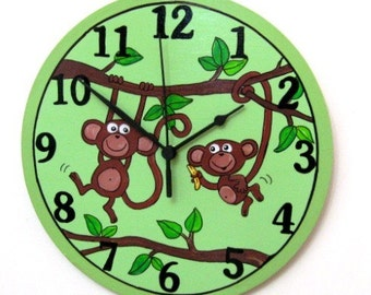Green Round Wall Clock With Monkeys Painting