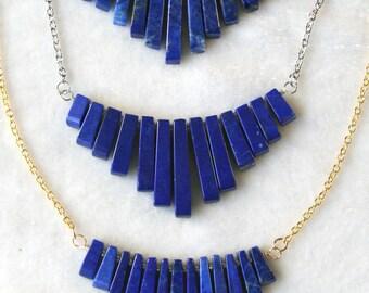 Graduated Gemstone Fan Necklace Lapis Lazuli
