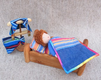 Bed for doll 9 inches, Waldorf Dollhause Furniture, Wooden dolls cot, Waldorf toys, Doll accessories, Doll crib.