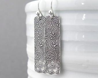Silver Bar Earrings Dangle Silver Earrings Simple Silver Earrings Geometric Jewelry Holiday Gift for Her Handmade Jewelry Bohemian Jewelry