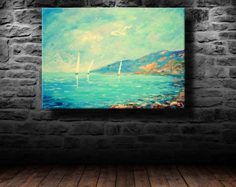 Oil painting, Wall art, Modern art, Three sailboat, Canvas art,Home décor, Painting, Wall decor, Abstract painting, Wall painting,white,blue