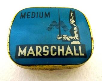 German Marschall Gramophone Needle Medium Metal Tin Case Box. BLUE. Early 20th-Century. Antique/Vintage.