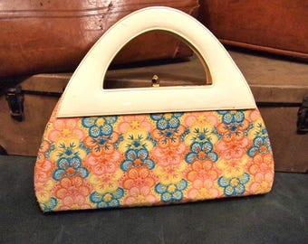 Vintage Hand Bag  Bags by Jacqueline Pastel Floral structured handle tapestry embroidery Purse