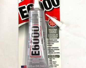 E6000 Industrial Strength Adhesive - 2.0 fl oz / 59.1mL Tube - White with BONUS Nozzle