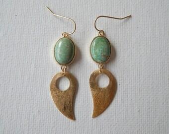 Gold bezel turquoise connectors with brush gold teardrop shape, dangle earrings, bohemian style jewelry, bezel gemstone, beach boho