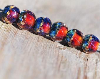 Lampwork BORO glass beads (6) borosilicate glass beads, handmade borosilicate glass beads, brown, ochre, purple, blue. borosilicate SRA