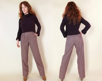 70s Houndstooth Straight Leg Trousers High Waisted Vintage Pants Long Retro Wool Menswear Hippie Boho Mens Mom Professor Teacher Disco