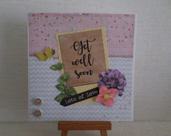 get well card with tags, flower and Butterfly 3D