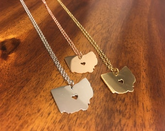 Ohio Necklace - Ohio Pendant - Ohio Charm - Ohio Outline - Ohio Jewelry - Ohio State Necklace - Ohio Jewelry - Ohio - Ohio Gift - Ohio Gifts