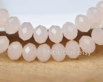 Peach Faceted Rondelle Crystal Glass Beads 6x8mm- BZ0846 / 70Pcs