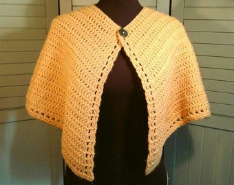 1960's 1970's Crochet Capelet Vintage Handmade Pale Yellow Cropped Cape Shrug Sweater Jacket Poncho Open Knit Boho Hipster Women's One Size