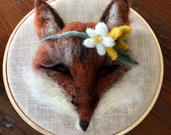 Needle Felted Fox with Floral Band