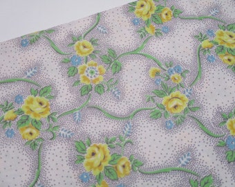 Vintage Cotton Fabric-1940's-Yellow-Flowers
