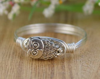 Owl Wire Wrapped Ring- Sterling Silver, Yellow or Rose Gold Filled Wire with Silver Tone Owl Bead - Any Size 4 5 6 7 8 9 10 11 12 13 14