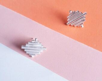 Ears minimalists in Silver 925 - diamond earrings - earrings series Pan