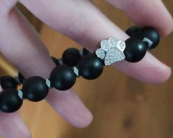 Black Matte Dog Paw Stretch Bracelet