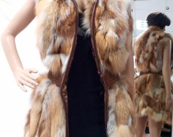 NEW!Natural Real Long Fox Fur Vest!