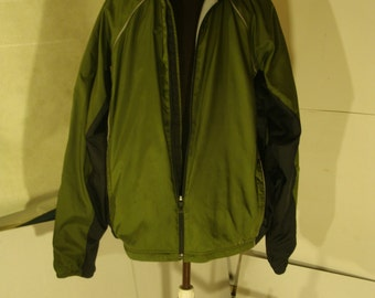 LL Bean Light Jacket Green Windbreaker Zip Up Running Jogging Reflective Jacket Men's XL