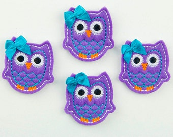 OWL - Embroidered Felt Embellishments / Appliques - Purple, Turquoise & White (Qnty of 4) SCF6700