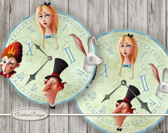 Alice in Wonderland Clocks printable party decor diy paper crafting craft digital instant download digital collage sheet S3I1 - VDCLAL1626