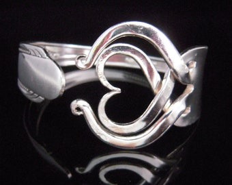 Recycled Silver Fork Bracelet in Original Heart Design Number Three