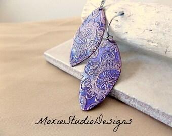 Purple Copper Boho Earrings, Etched Copper Earrings, Light Weight Copper Earrings, Unique Earrings, Bohemian Jewelry
