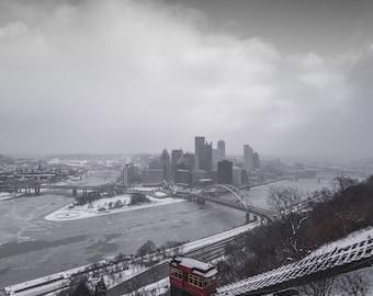 Frozen Downtown Pittsburgh Pennsylvania City Photography Digital Download Wall Art