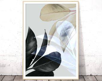 Trending Now Art, Modern Botanical Print, Black Leaf Poster, Guest Room Wall Art, Grey Leaves, Tropical Decor, Christmas Gift, Plant Photo
