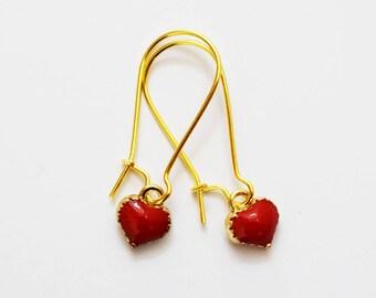 Cute Gold Tone and Red Enamel Heart Design Drop Earrings