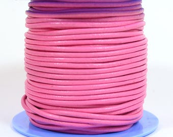 2mm Round Spanish Leather - Pink - L2-9765 - Choose Your length