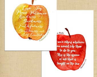 The Fruit of the Spirit and The Golden Rule Printables - Two 5X7 Scripture Art Prints - Instant Download