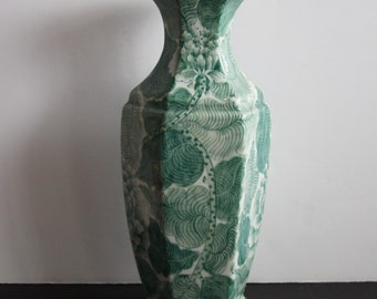 SALE!!! Vintage Asian Flower Vase.  Hand Painted Green and White Vase.  Made in Thailand.  Excellent Condition.