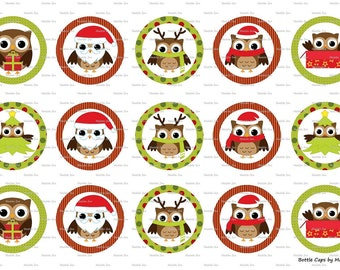 "15 Christmas Owls Digital Download for 1"" Bottle Caps (4x6)"